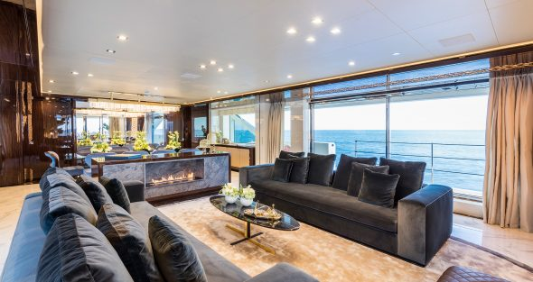 Planika fireplace on yacht